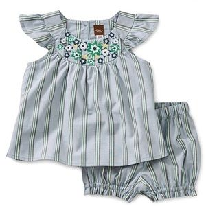 Tea Collection light blue ruffle dress w/ shorts